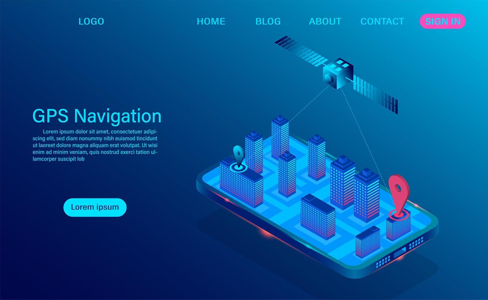aplicación de navegación gps en concepto de teléfono inteligente vector