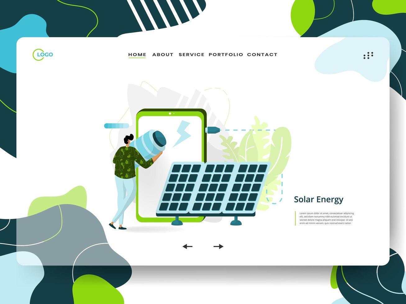 página de aterrizaje de energía solar vector