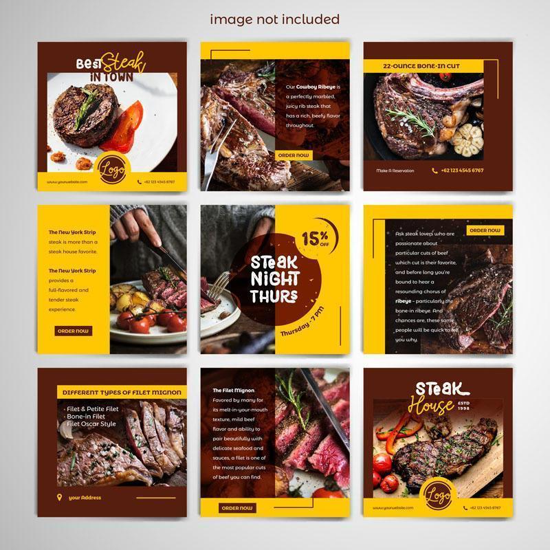 modèle de publication de médias sociaux de steak vecteur