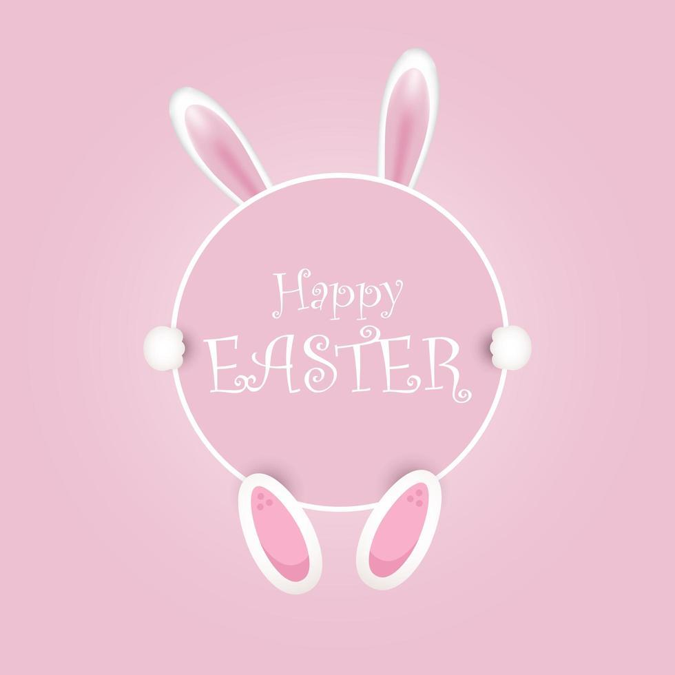 rosa felice pasqua coniglietto orecchie sfondo vettore