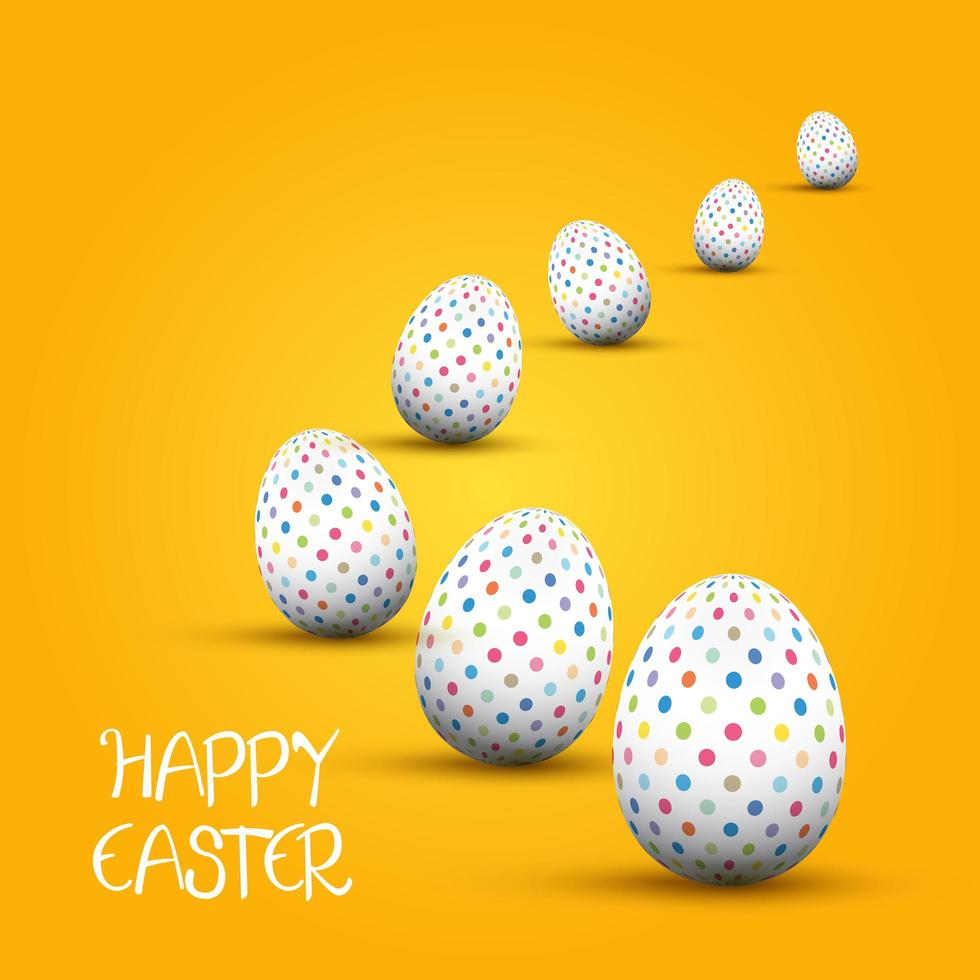 Easter Background with Polka Dot Eggs vector