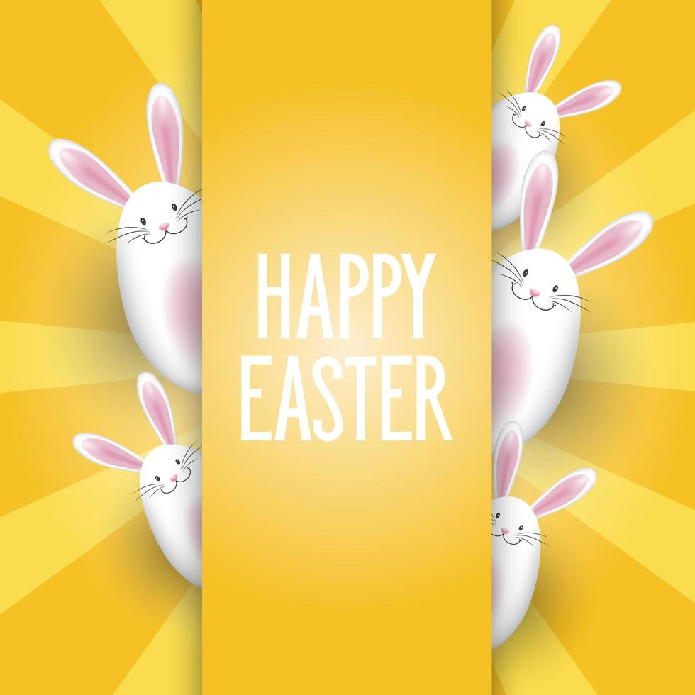 Easter Background with Cute Bunnies vector