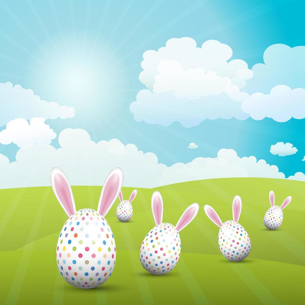 lindos huevos de pascua con orejas de conejo vector