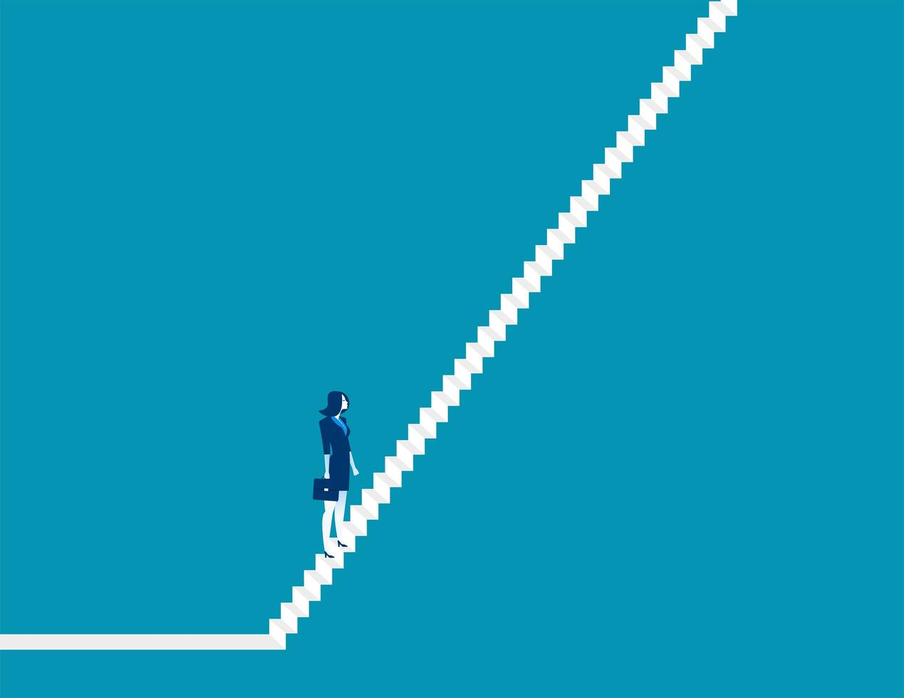 Businesswoman On Steep Steps vector