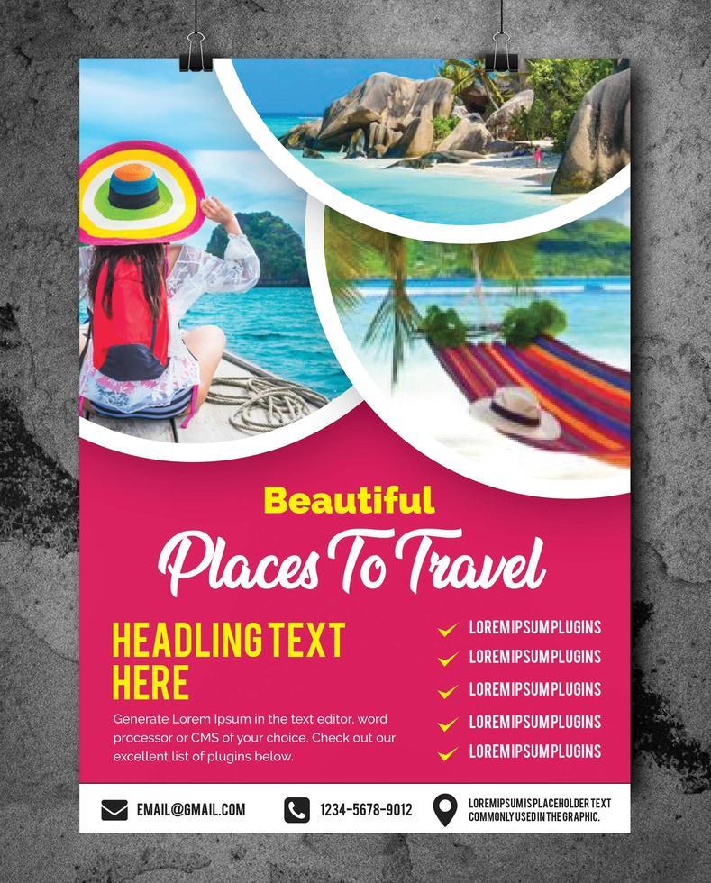 folleto de viaje con texto editable vector