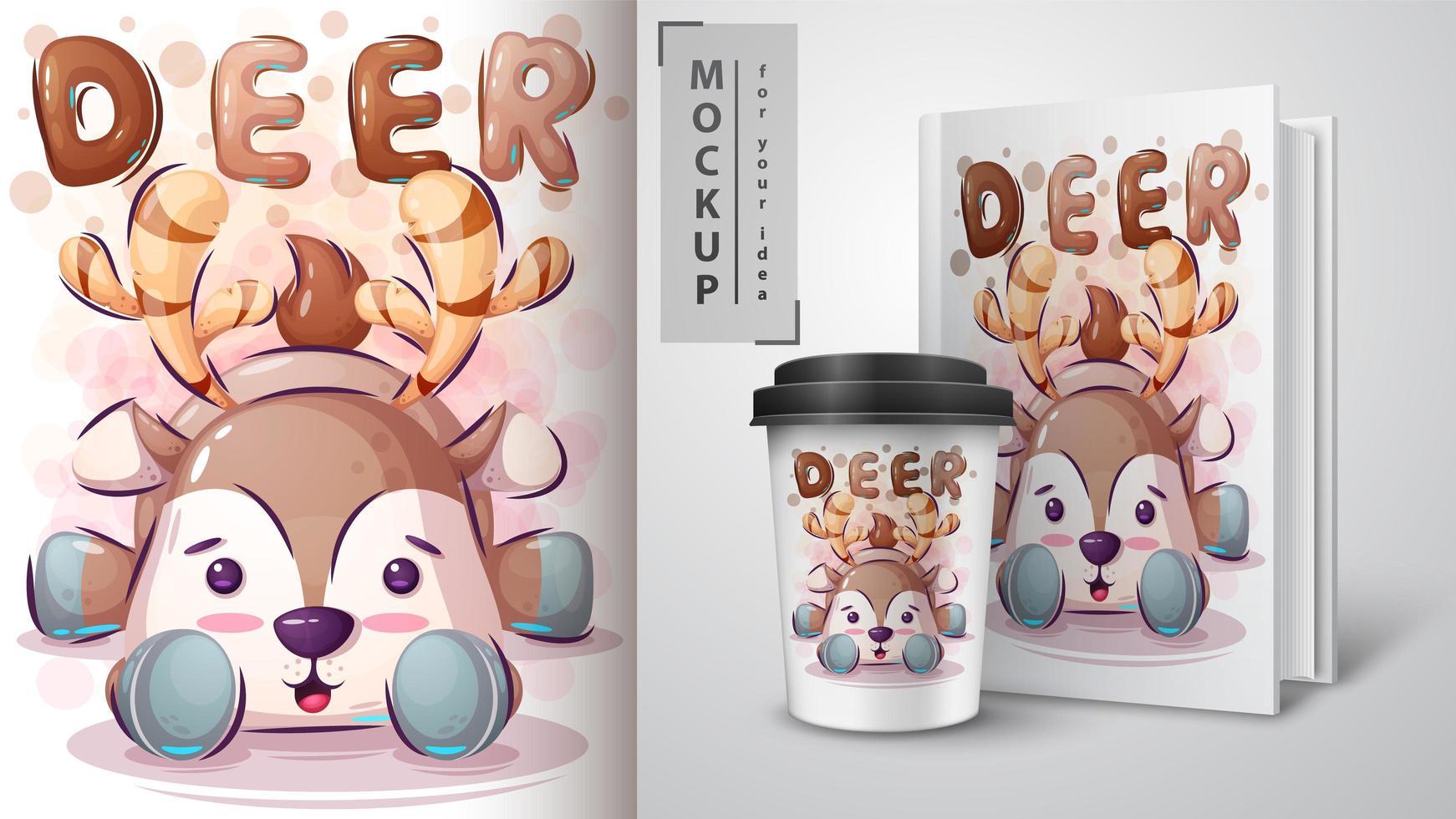 teddy dear poster y merchandising vector