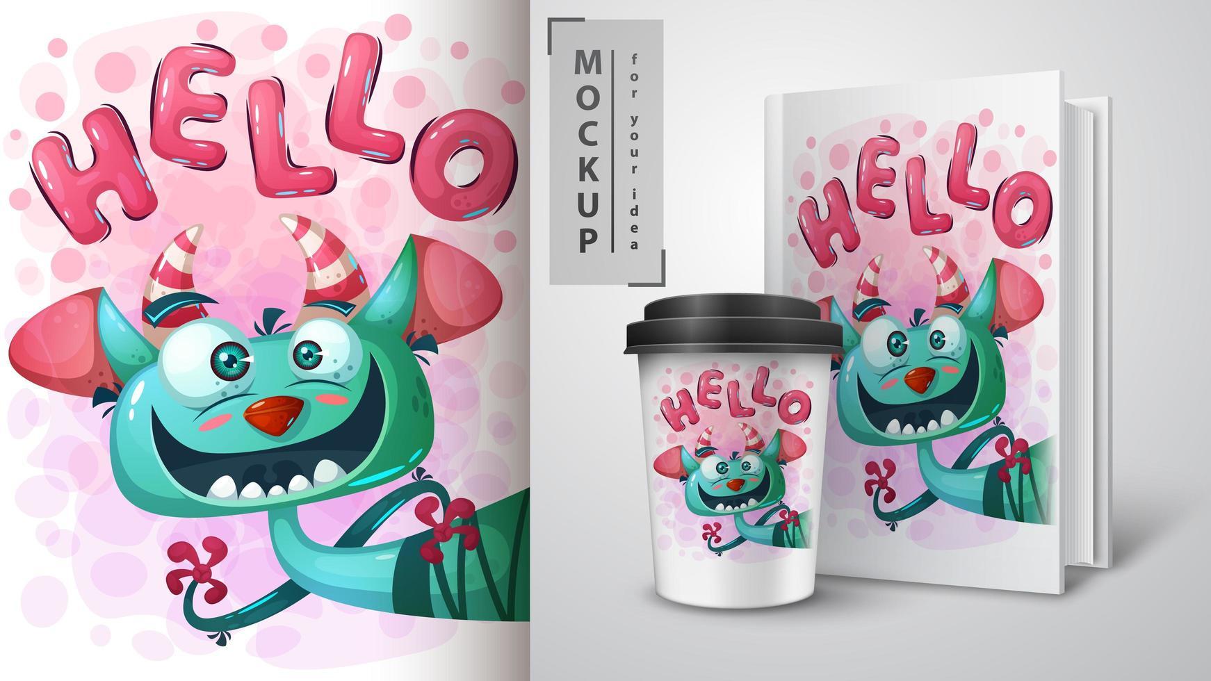 Hello monster poster  vector
