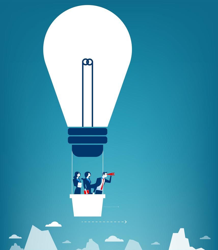 Equipo de negocios volando en el cielo en un globo de aire caliente en formato de lámpara vector