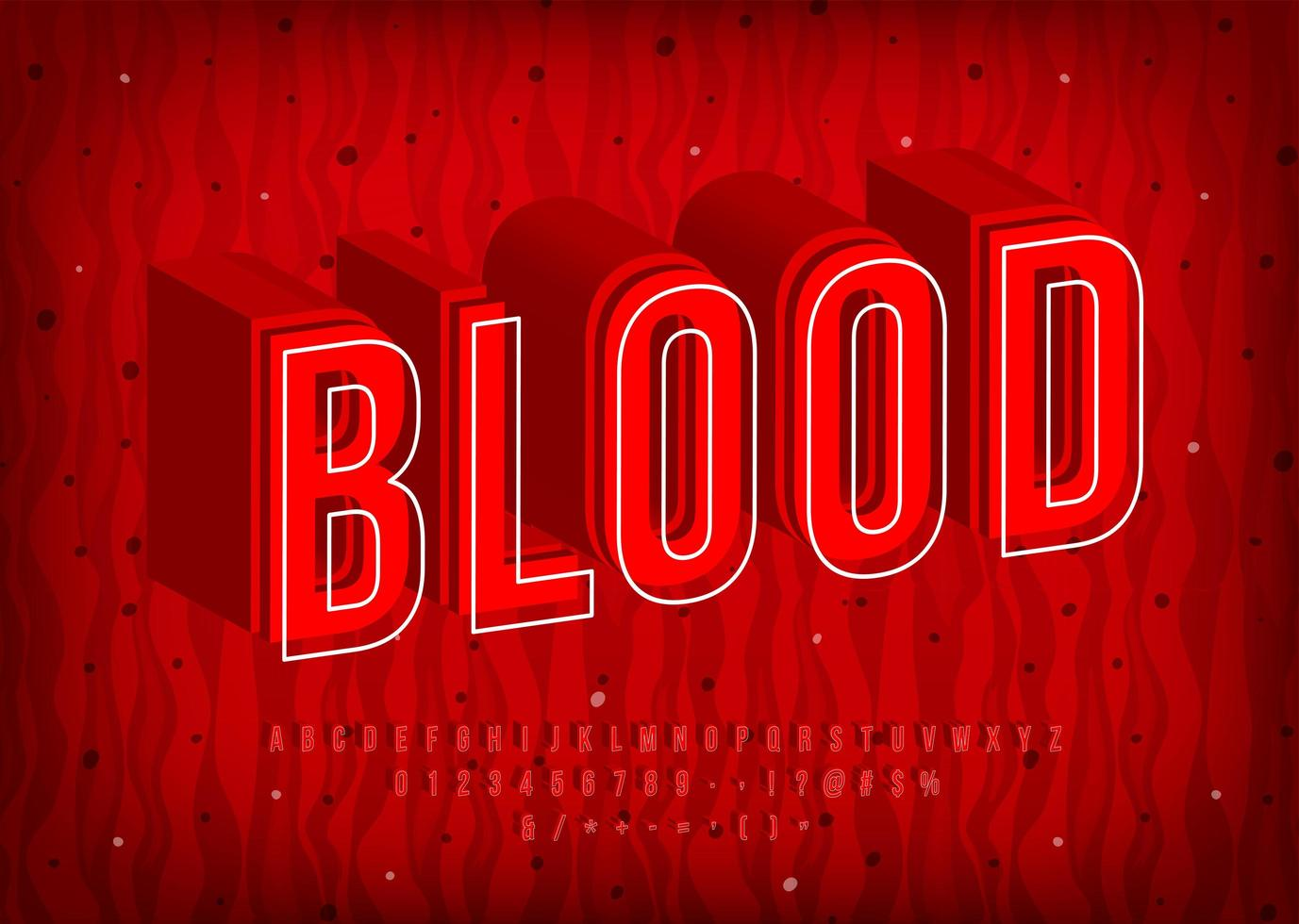 Blood Alphabet with thermal hot letters vector