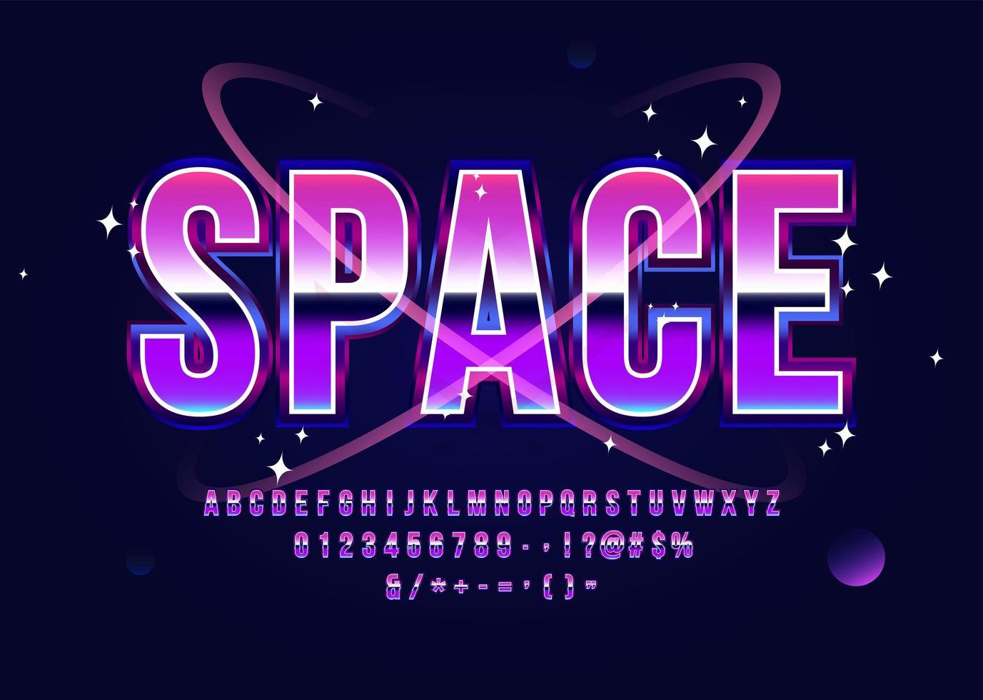 fuente de ciencia ficción retro del alfabeto espacial vector