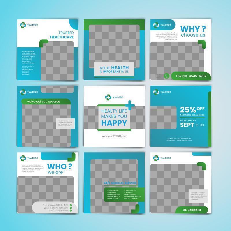 plantilla de publicación médica en redes sociales en azul y verde vector