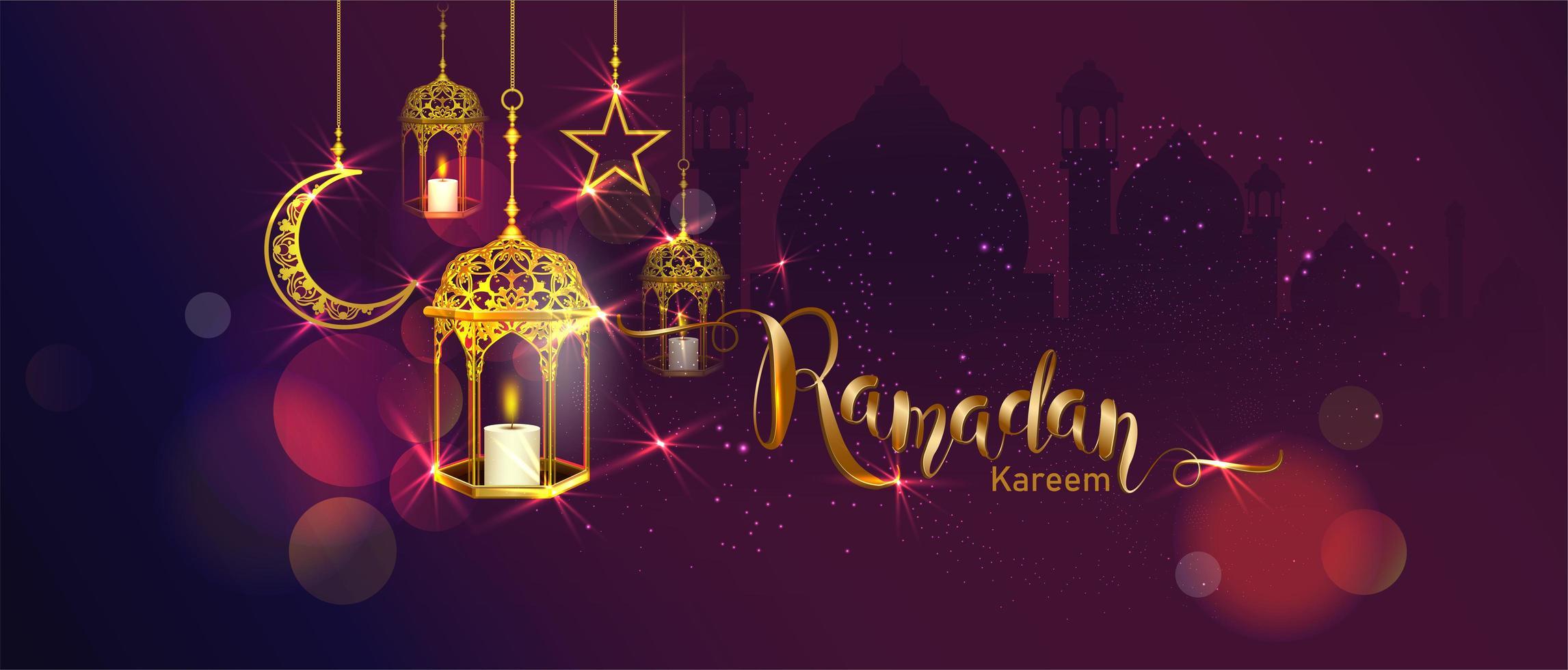 Ramadan Kareem Banner mit hängenden Laternen, Mond und Stern vektor