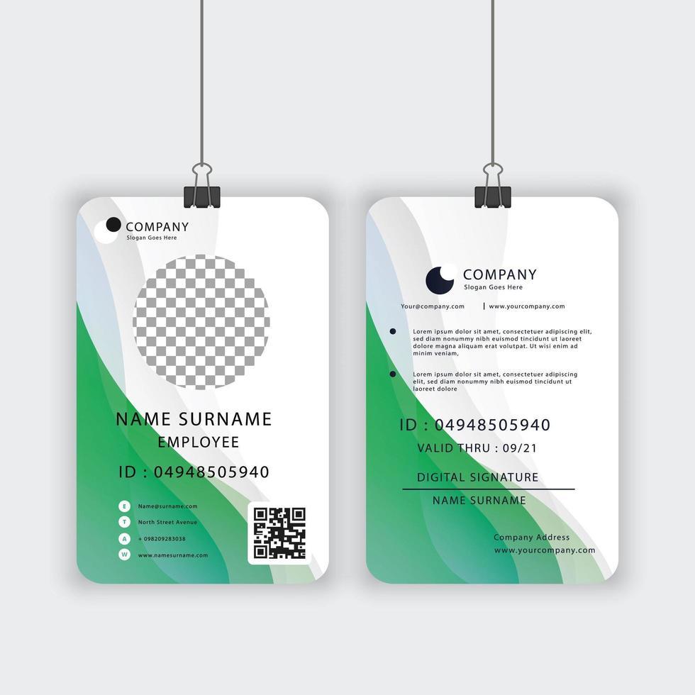 offizielle ID-Kartenvorlage in Grün und Weiß vektor