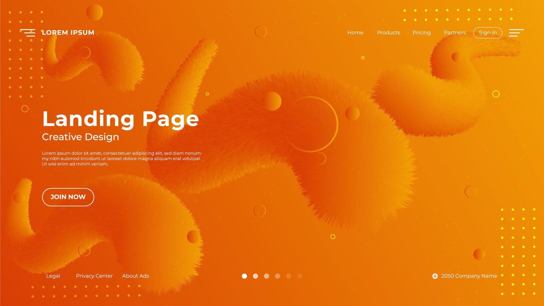 Abstract Orange Fluid Gradient Landing Page Background vector