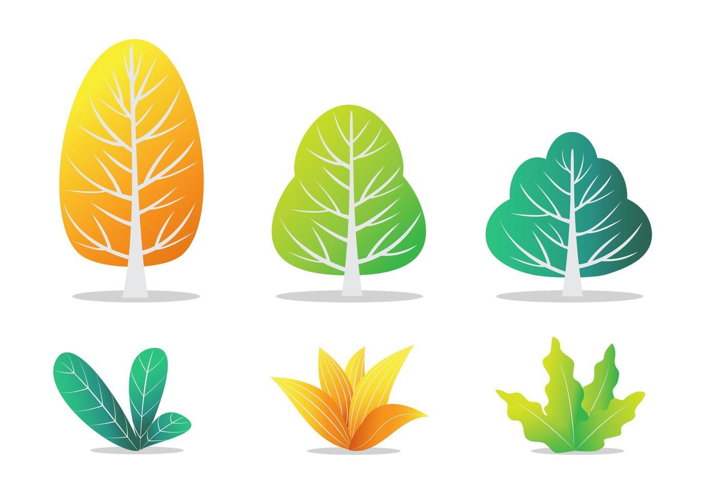 otoñales árboles y arbustos vector
