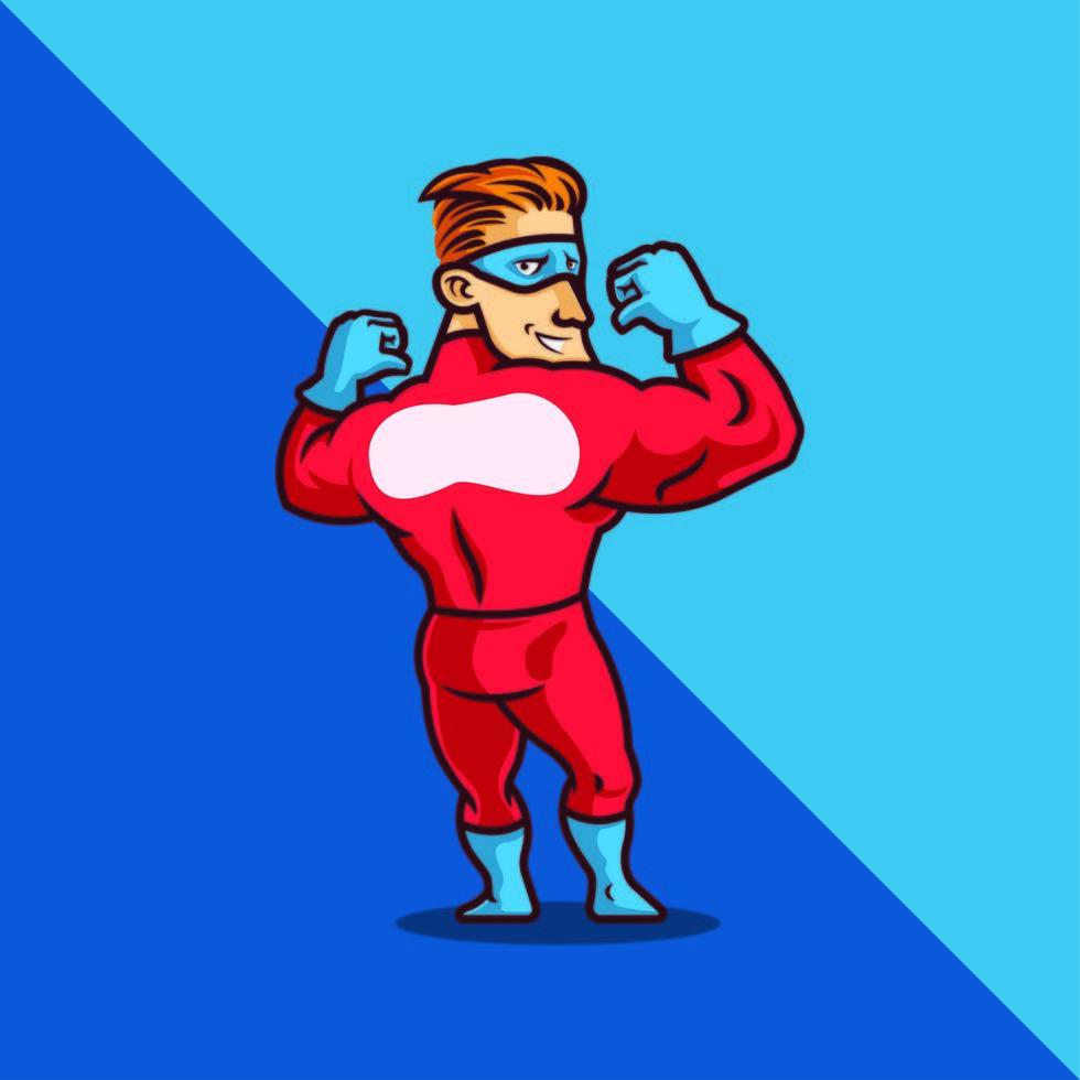 superhjälte i röd dräkt och mask vektor
