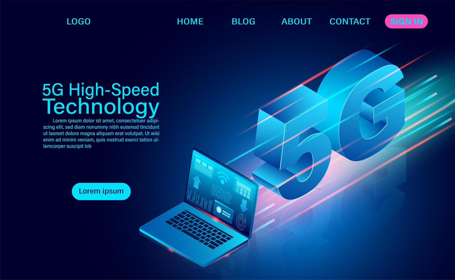 Technologie haute vitesse 5g avec ordinateur portable vecteur
