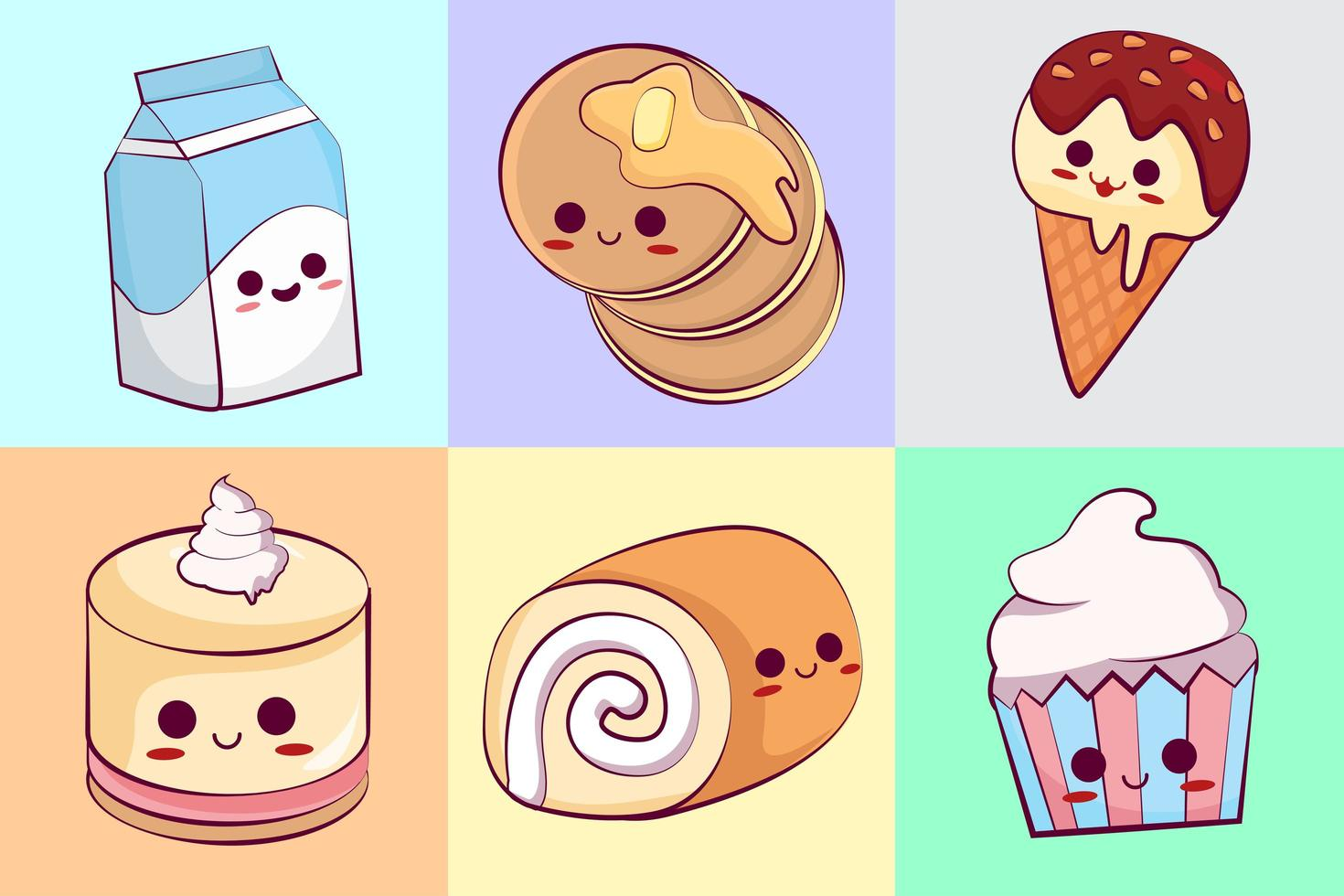 Kawaii Sweets with Faces Collection vector