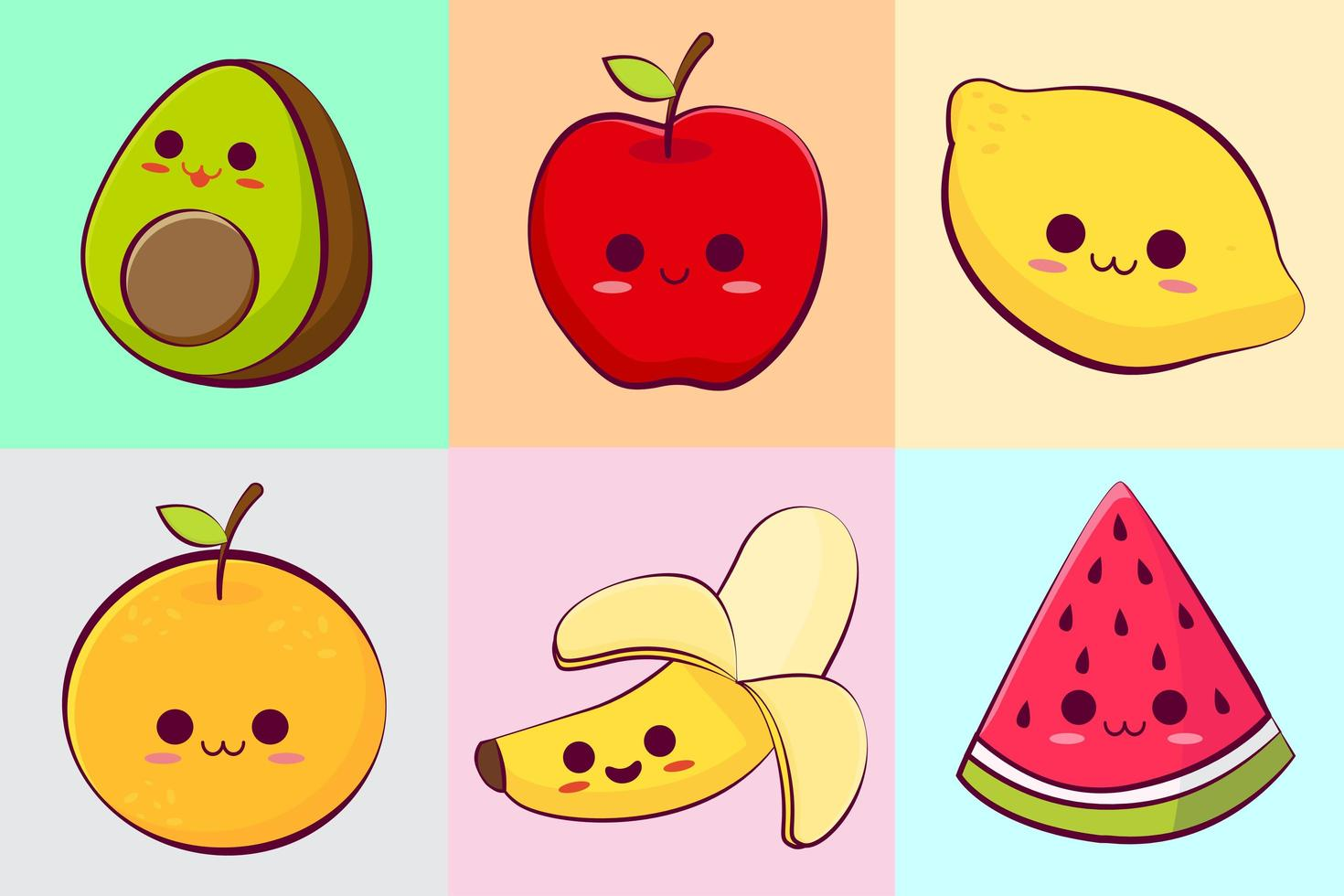 colección de frutas tropicales kawaii vector