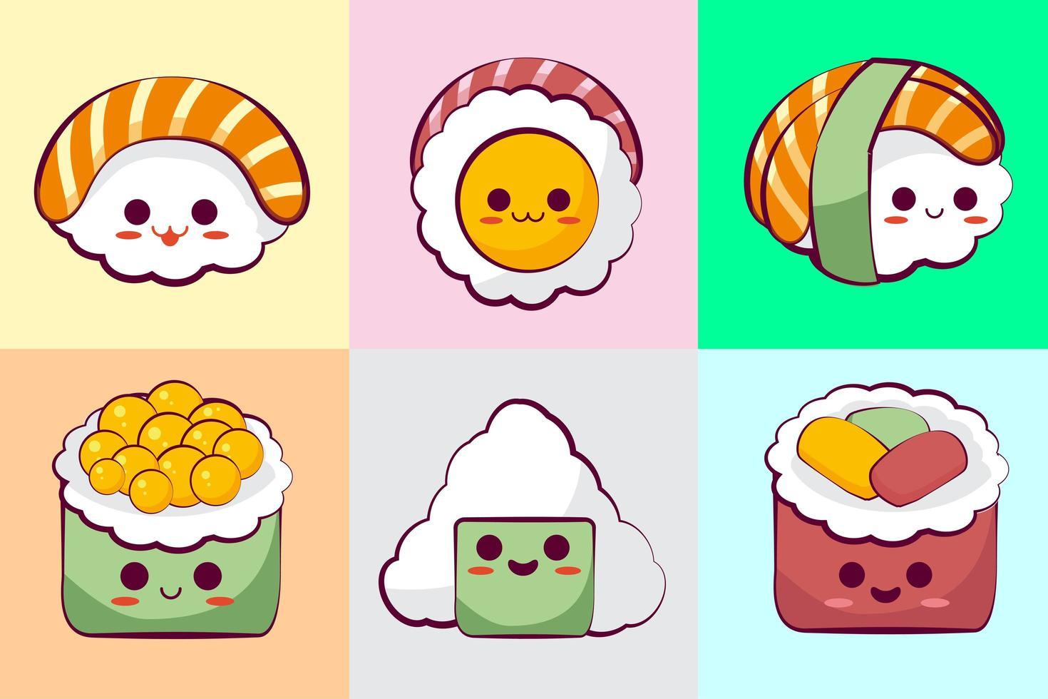 colección de sushi kawaii vector