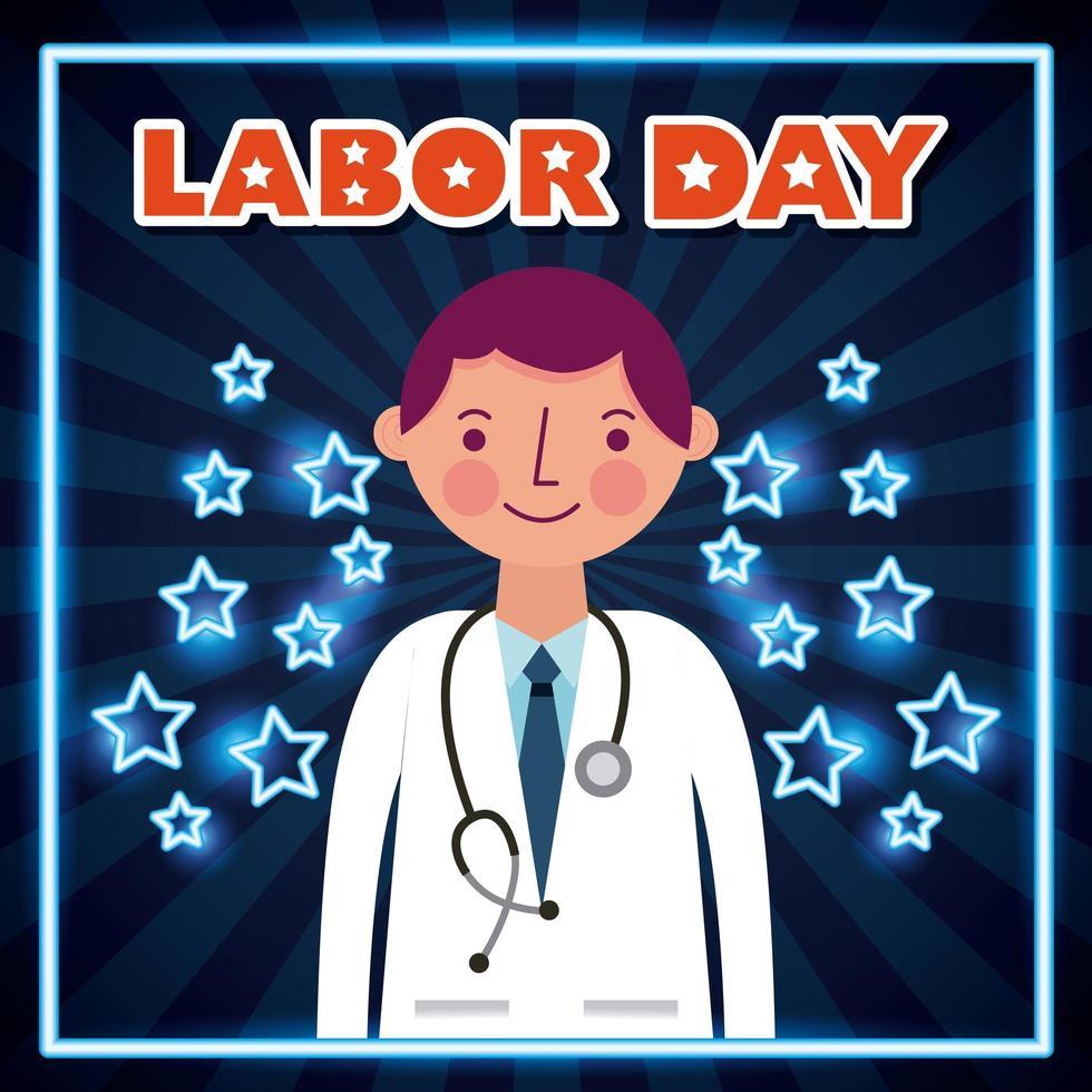 cartel del día del trabajo con el médico vector