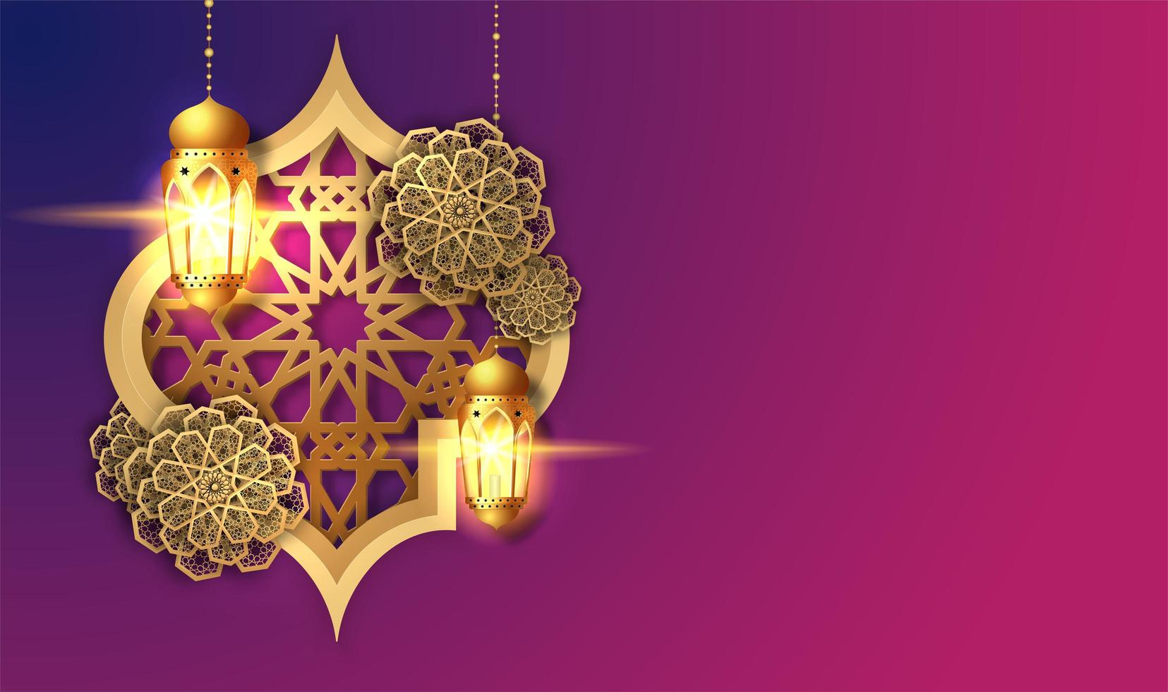 Pink and Purple Ramadan Kareem Lantern Card vector