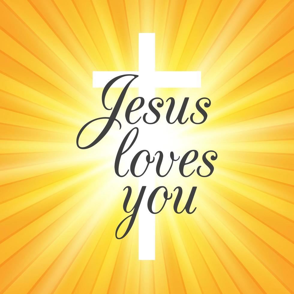 Jesus Loves You on Sunburst Background