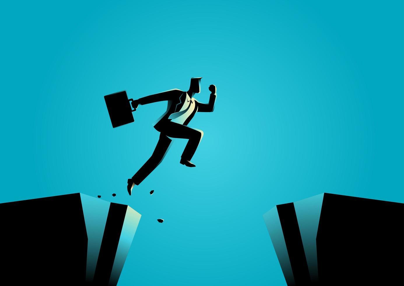 Businessman Silhouette Jumping Ravine vector