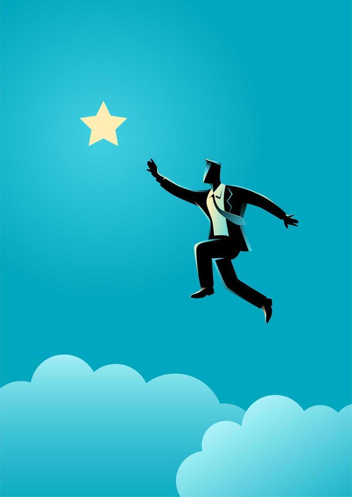 silueta de hombre de negocios llegando a estrella vector