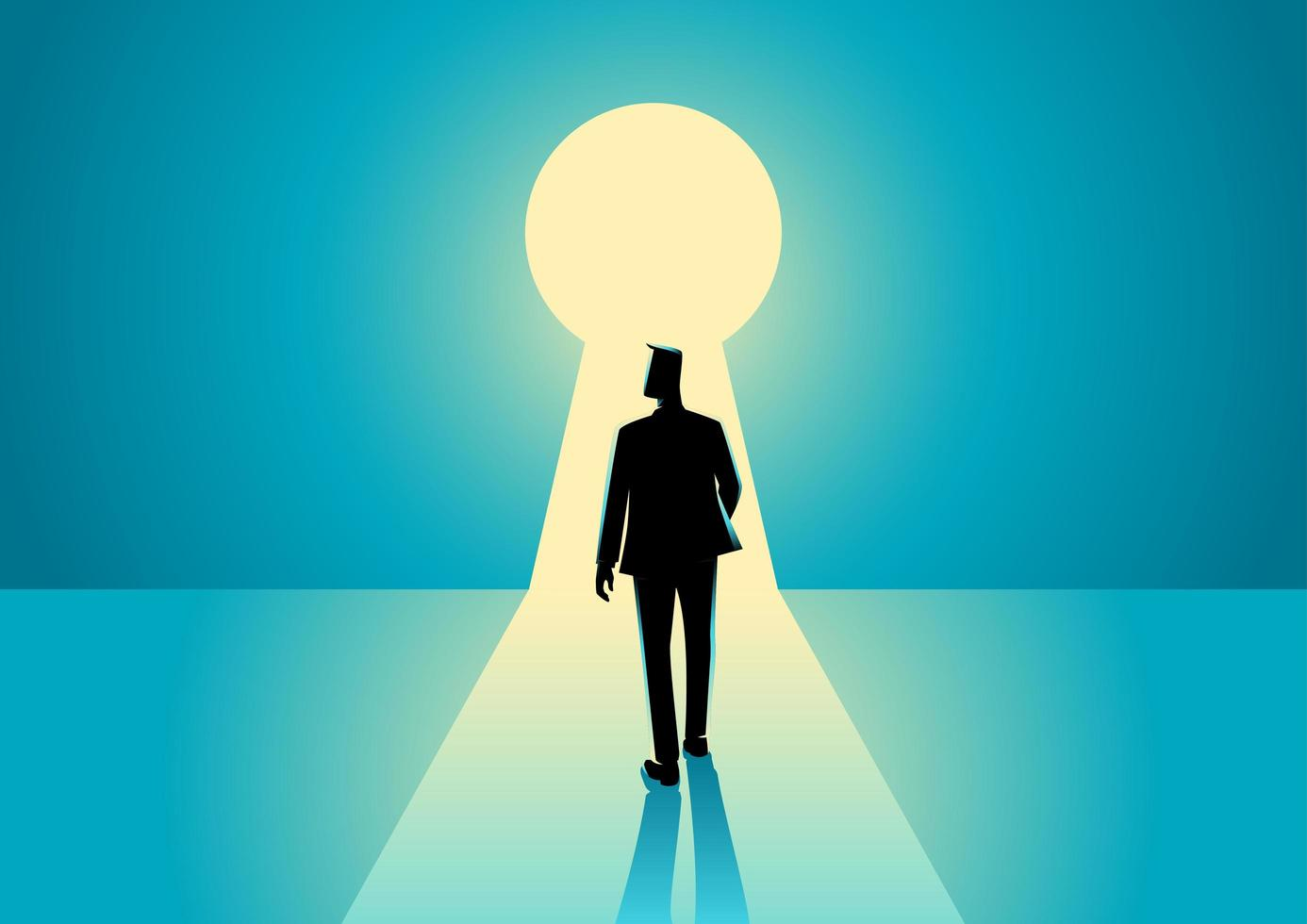 Businessman Silhouette Standing Before Keyhole vector