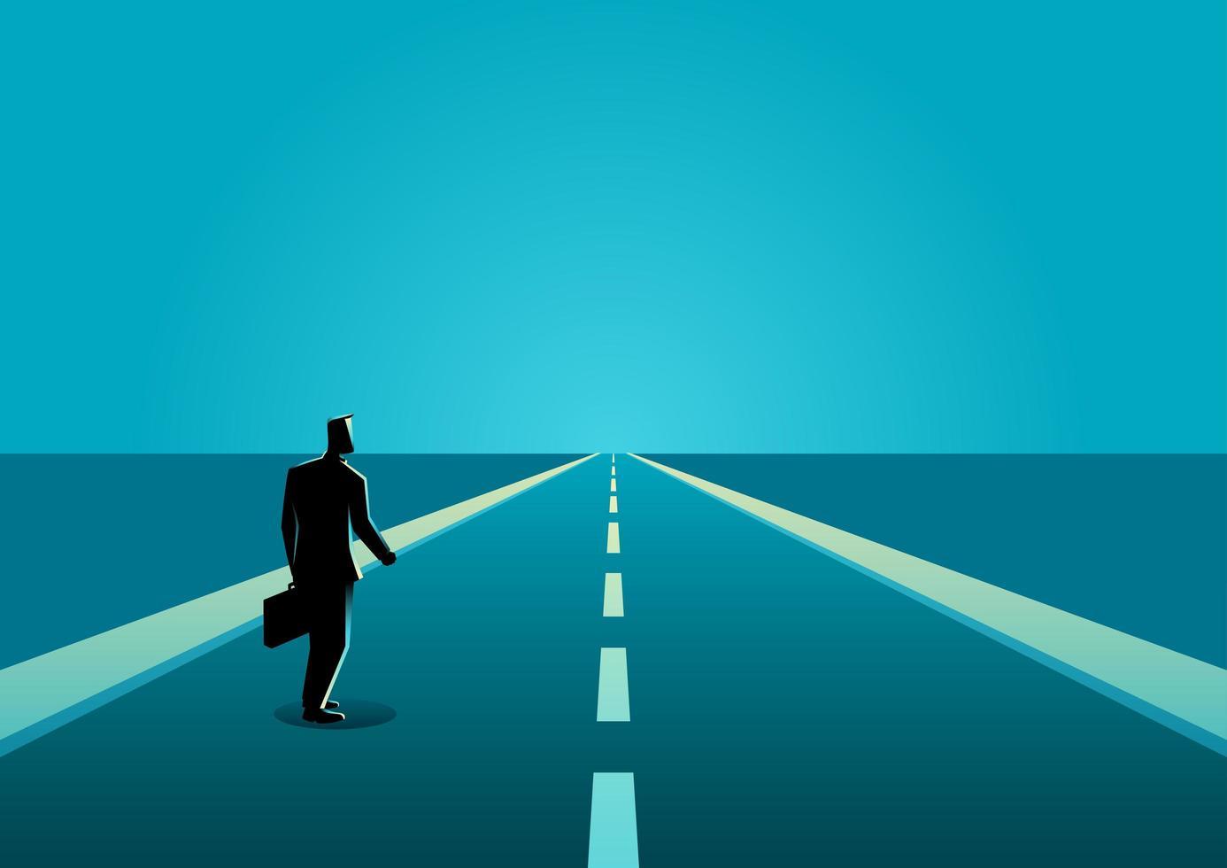 zakenman silhouet lange weg vector