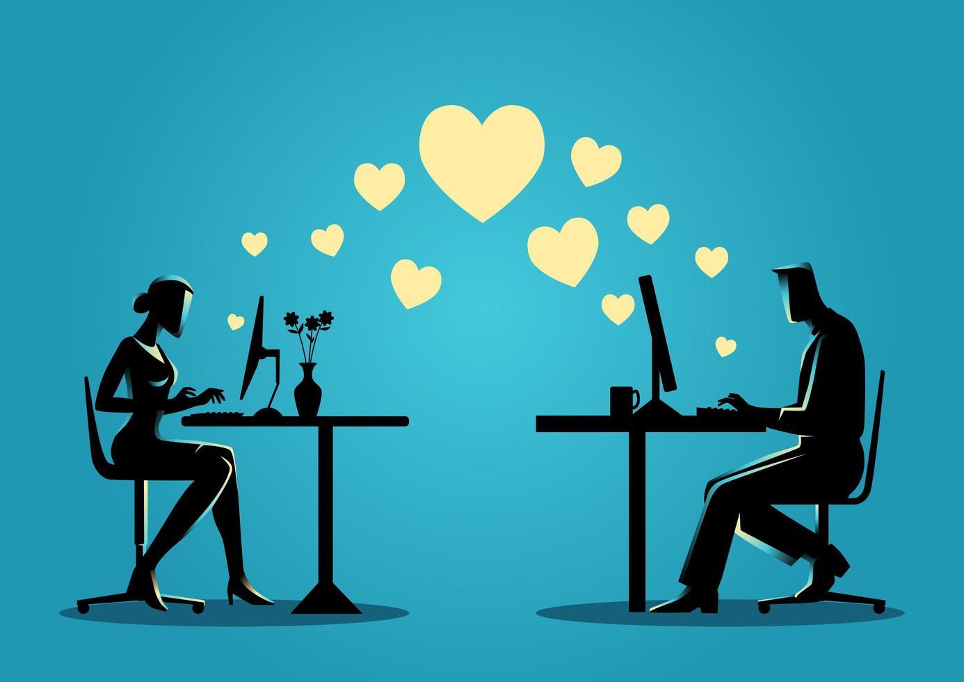 silueta de hombre y mujer chateando en línea vector