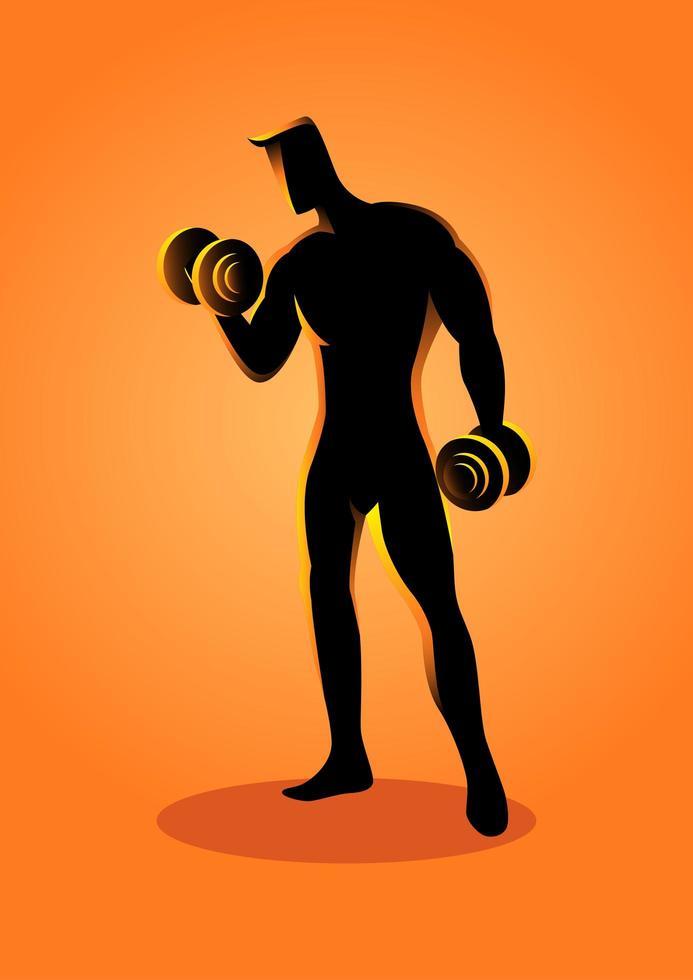 fisiculturista de silhueta esporte com haltere vetor