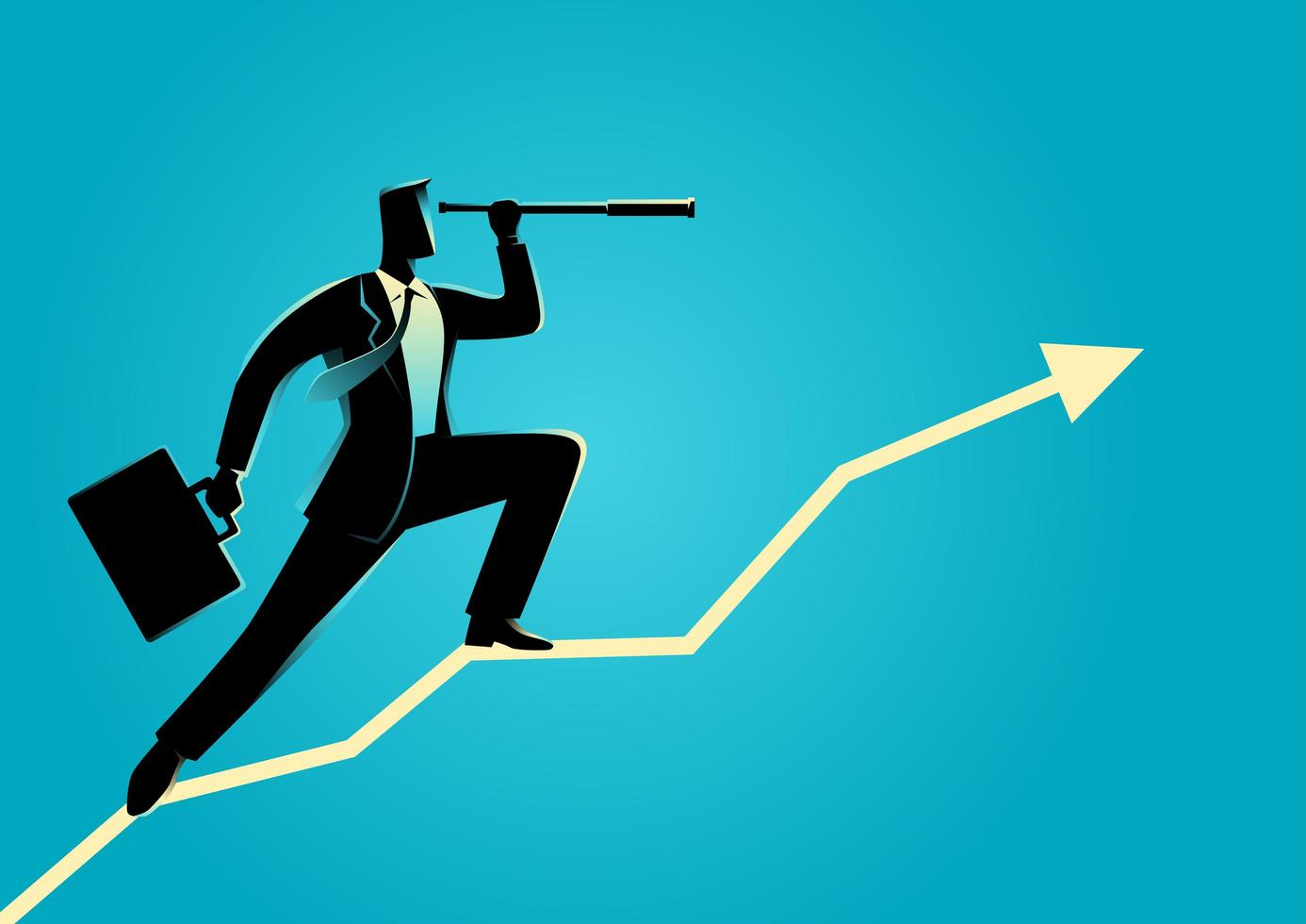 Businessman Silhouette on Upwards Graph with Telescope vector