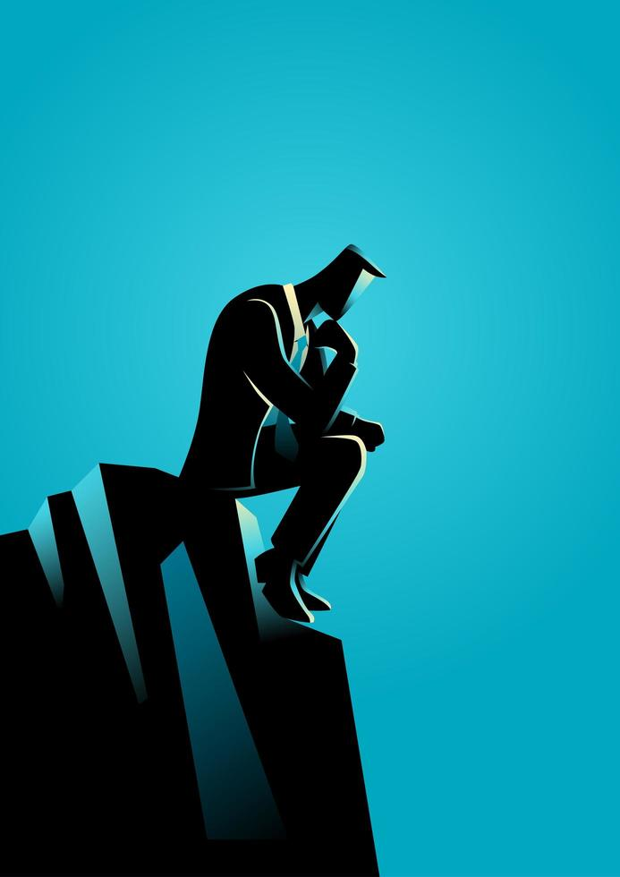 silueta de hombre de negocios sentado en roca y pensando vector