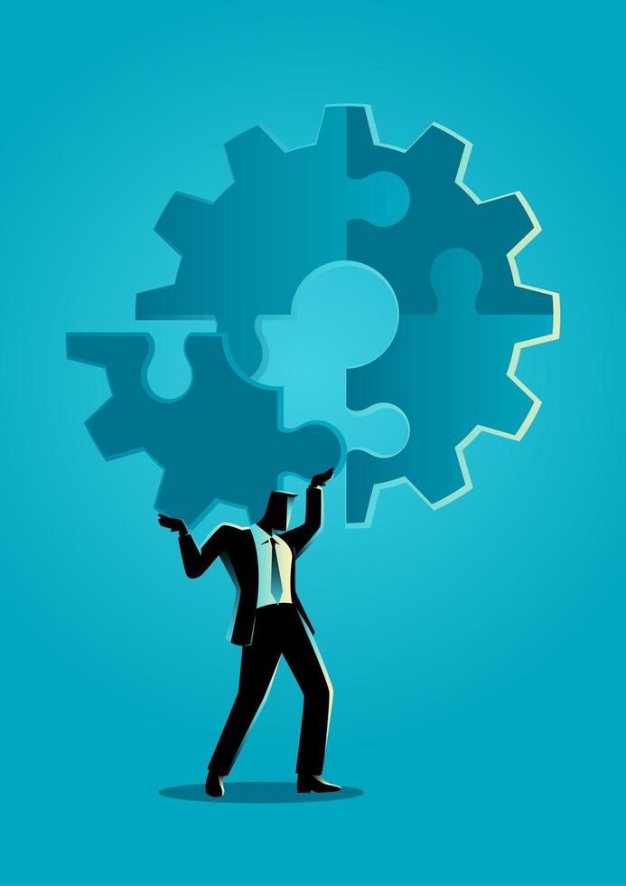 Businessman Silhouette Holding Gear Puzzle Piece vector