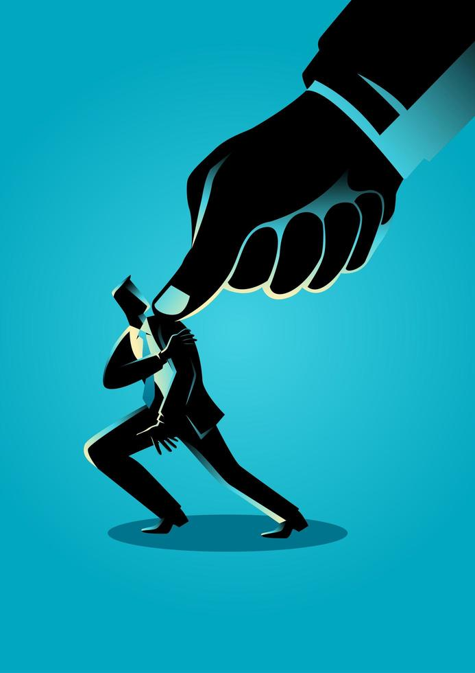 Businessman Silhouette Under Pressure by Thumb vector