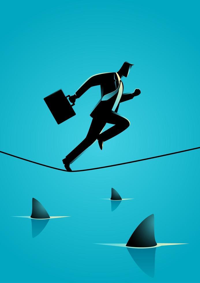 silueta de hombre de negocios corriendo sobre la cuerda sobre tiburones vector