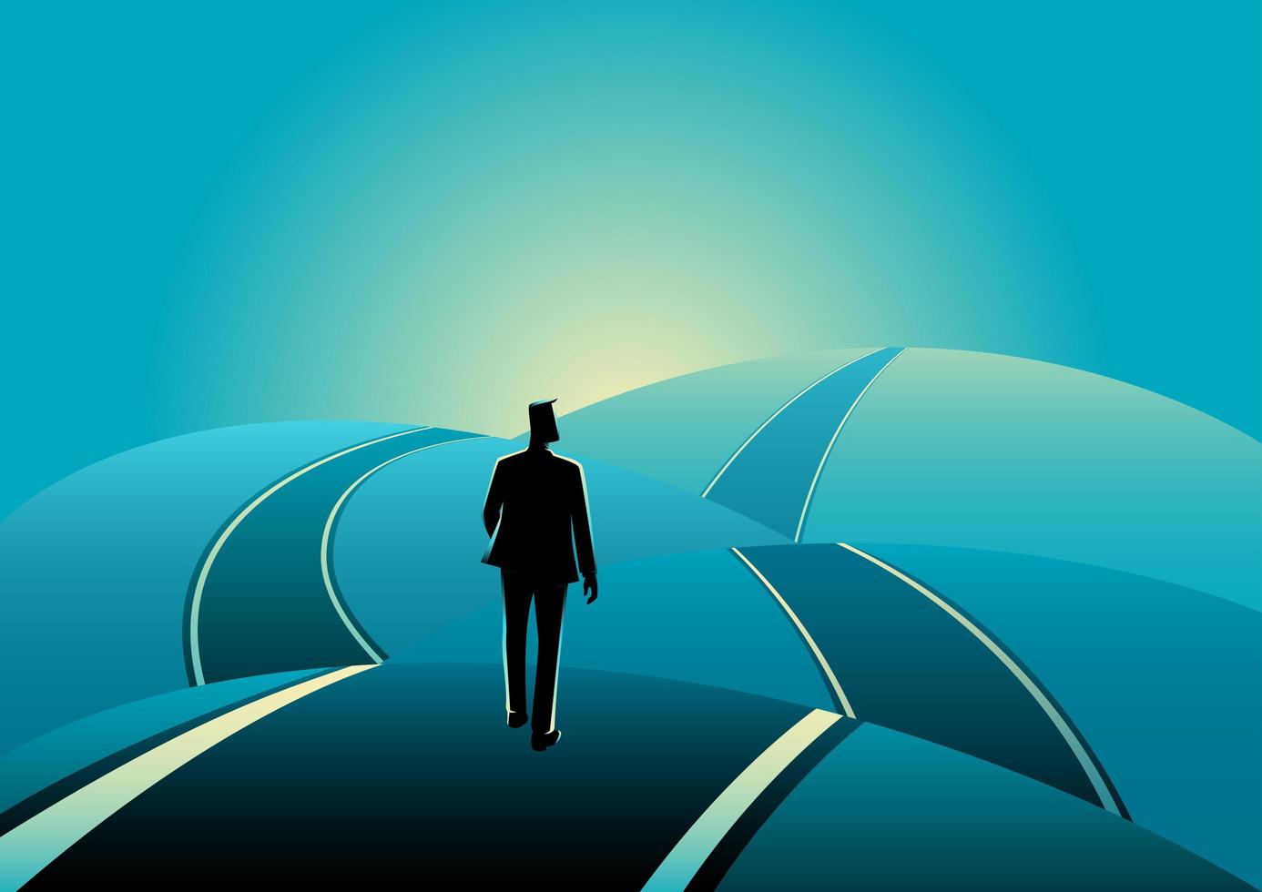 Businessman Silhouette Walking On Road Hills vector