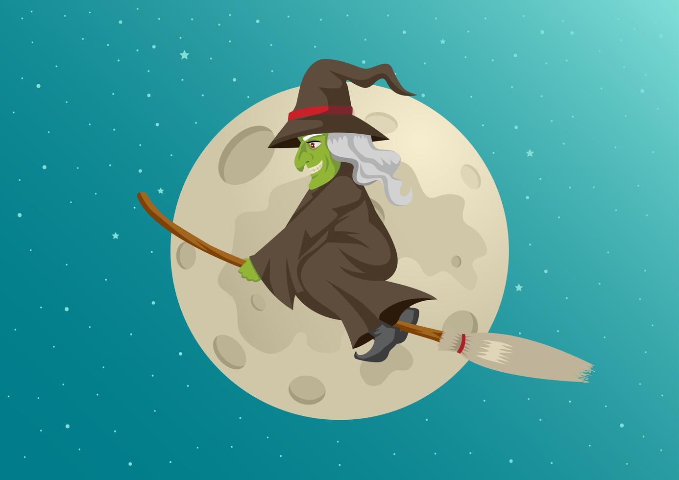 bruxa de desenho animado, voando na frente da lua cheia vetor