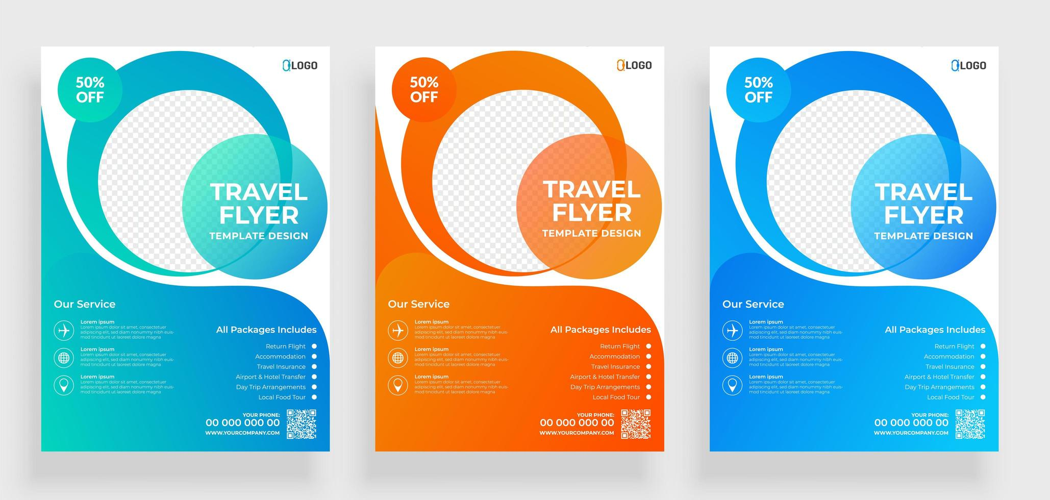 Travel Flyer Templates with Transparent Round Shapes  vector
