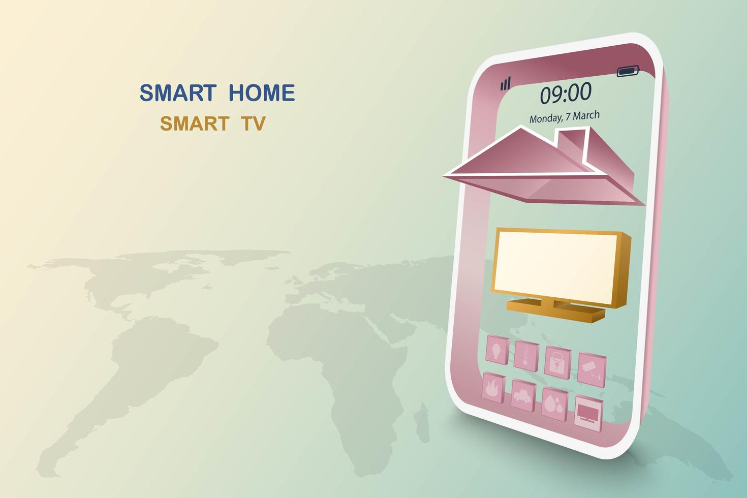 Smart home with tv control vector