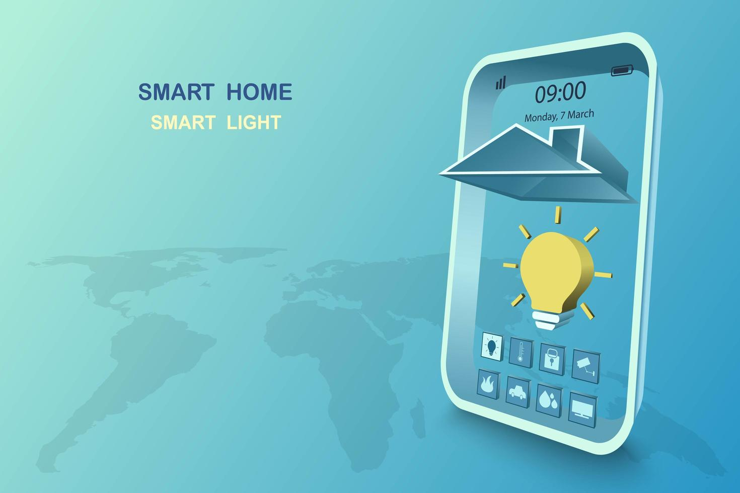 Smart home with light control vector