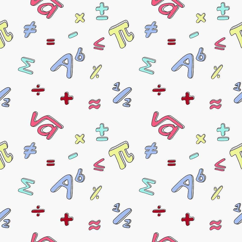 sömlösa mönster av matematiska symboler. vektor