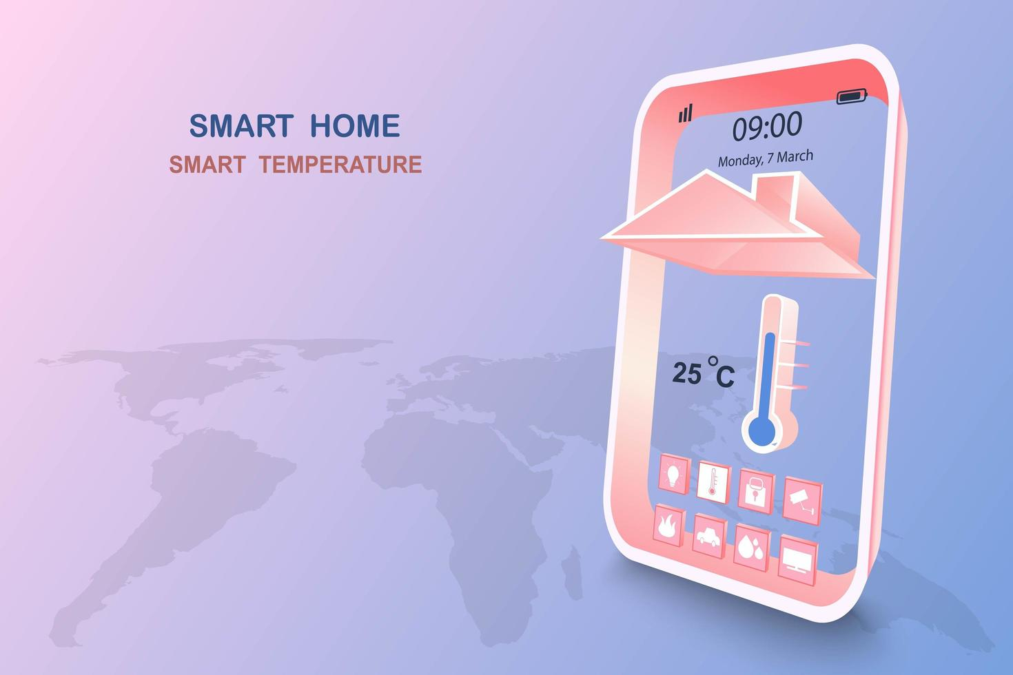 Smart home with temperature control vector
