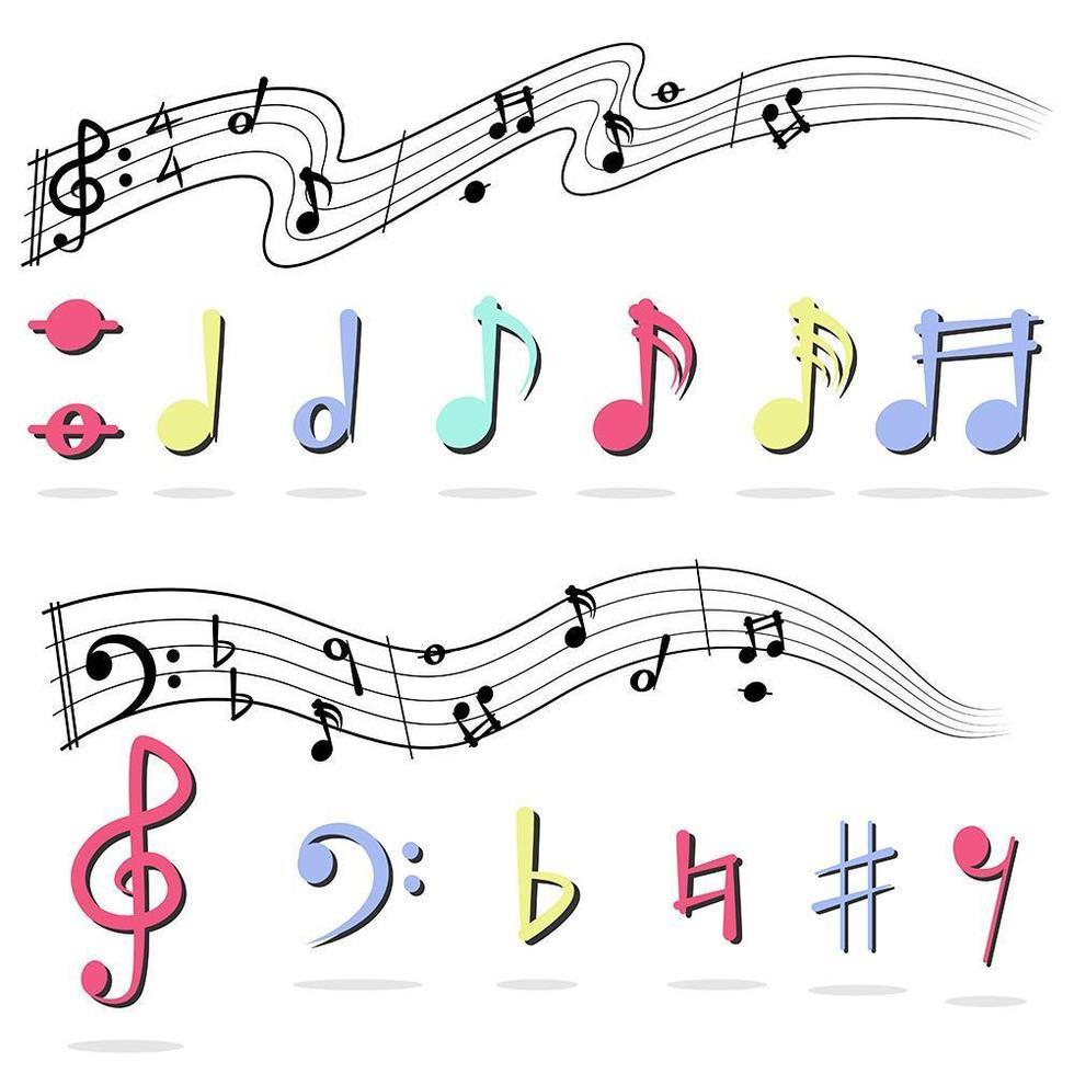 Musiknote auf Weiß gesetzt vektor