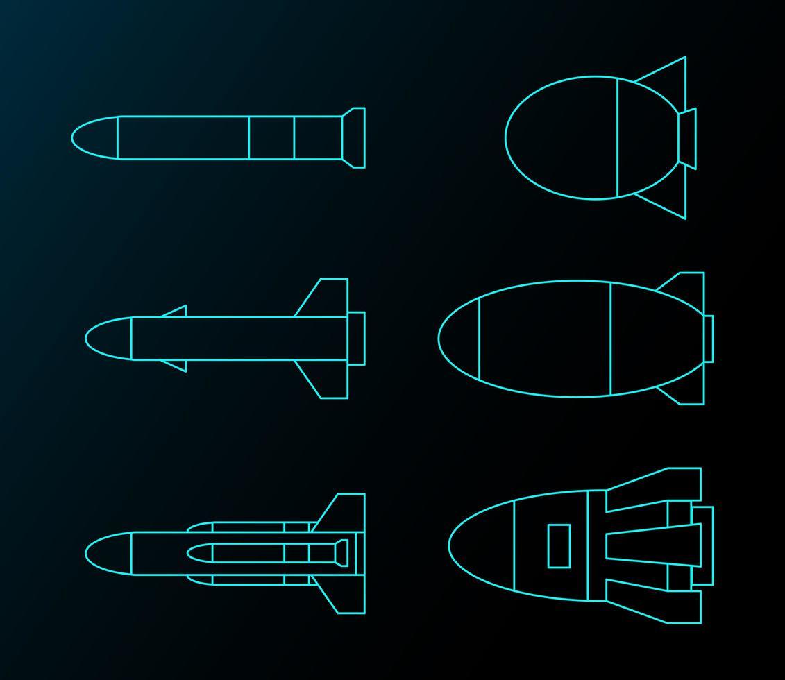 futuristische raket lijntekening set vector