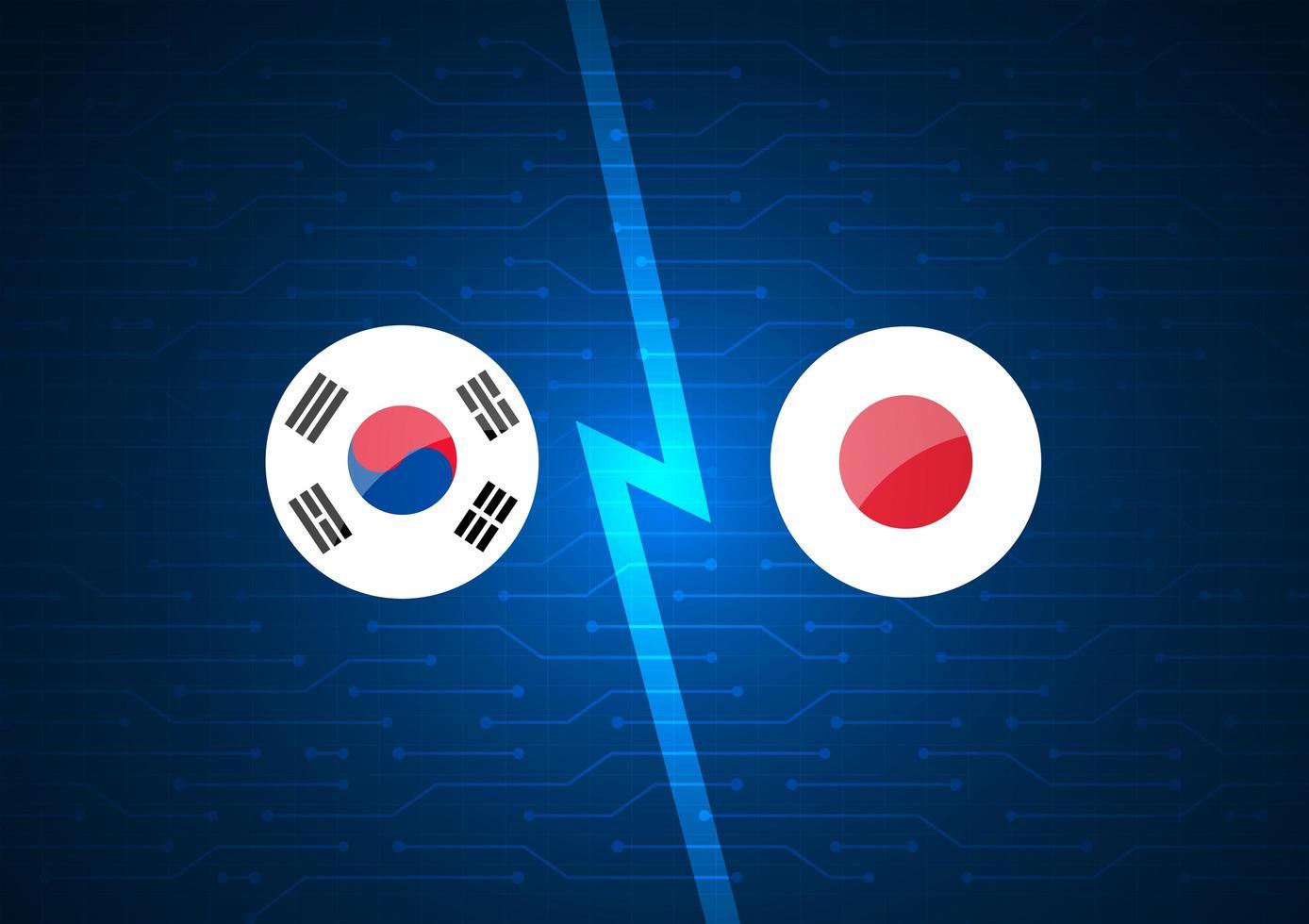 Koreaanse en Japanse vlaggen op gloeiende circuit achtergrond vector