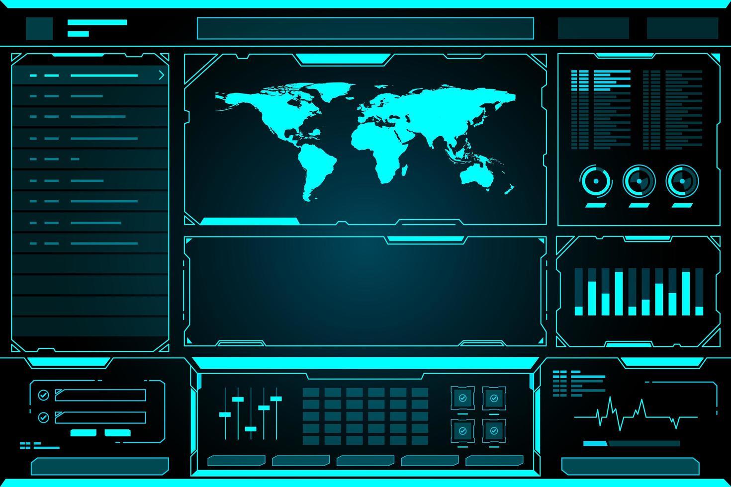 World Map Technology Future Interface HUD vector