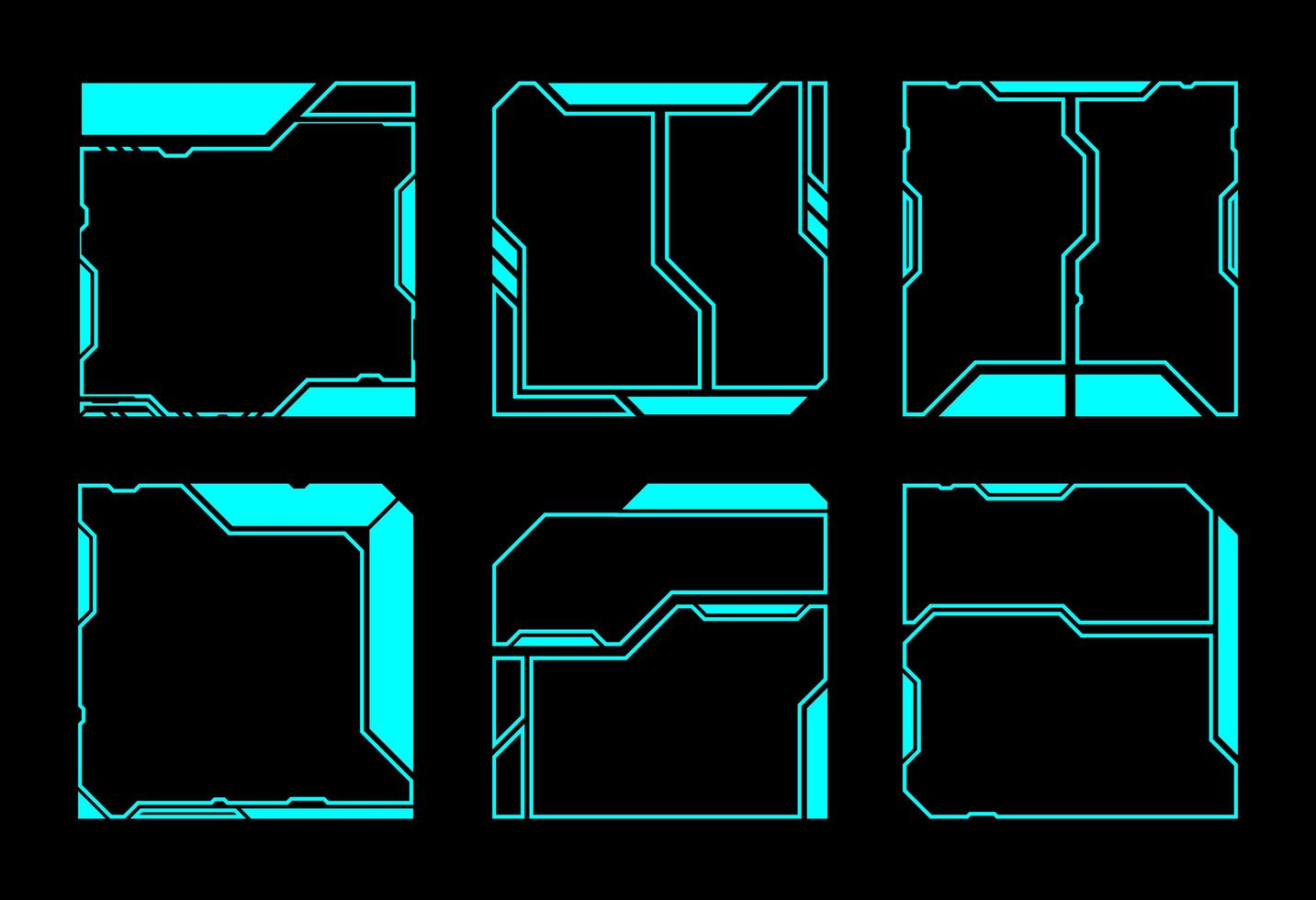 Geometric Square HUD Interface Elements vector